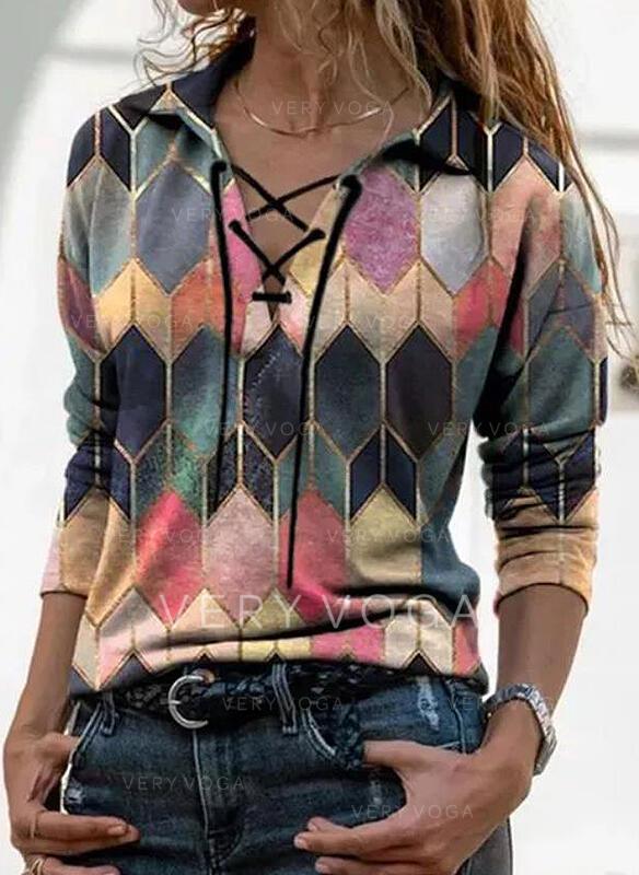 Kleurblok Revers Lange Mouwen Casual Overhemd