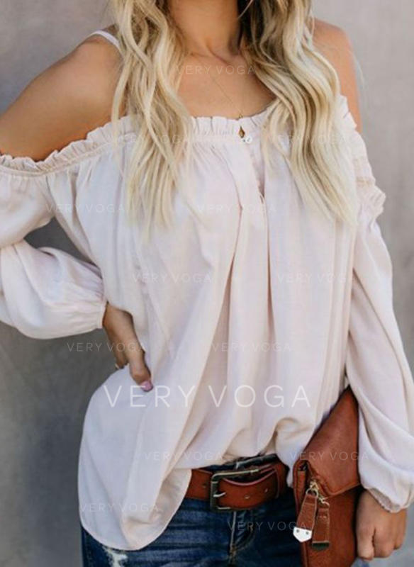 Solid Spaghetti Strap Long Sleeves Button Up Casual Sexy Blouses
