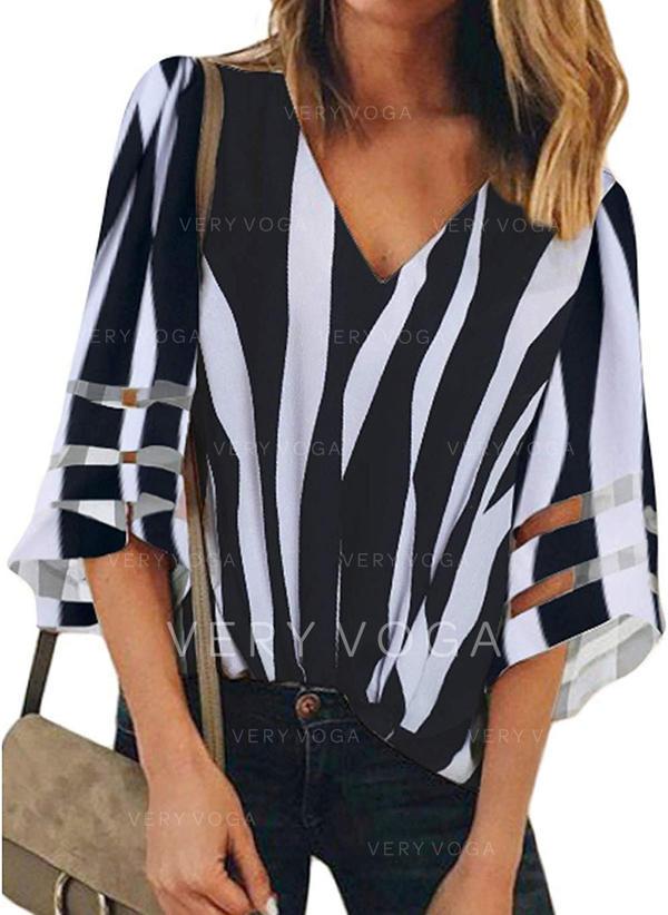 Striped V Neck 1/2 Sleeves Casual Elegant Blouses