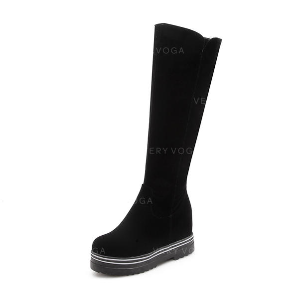 43fe659331 Women's Suede Flat Heel Boots Knee High Boots With Others shoes ...