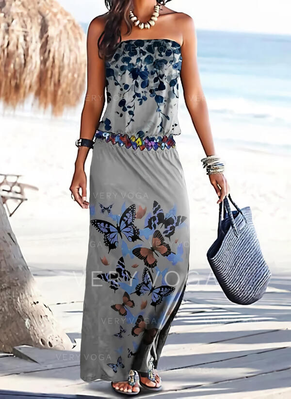 Floral/Animal Print Sleeveless Sheath Vacation Maxi Dresses