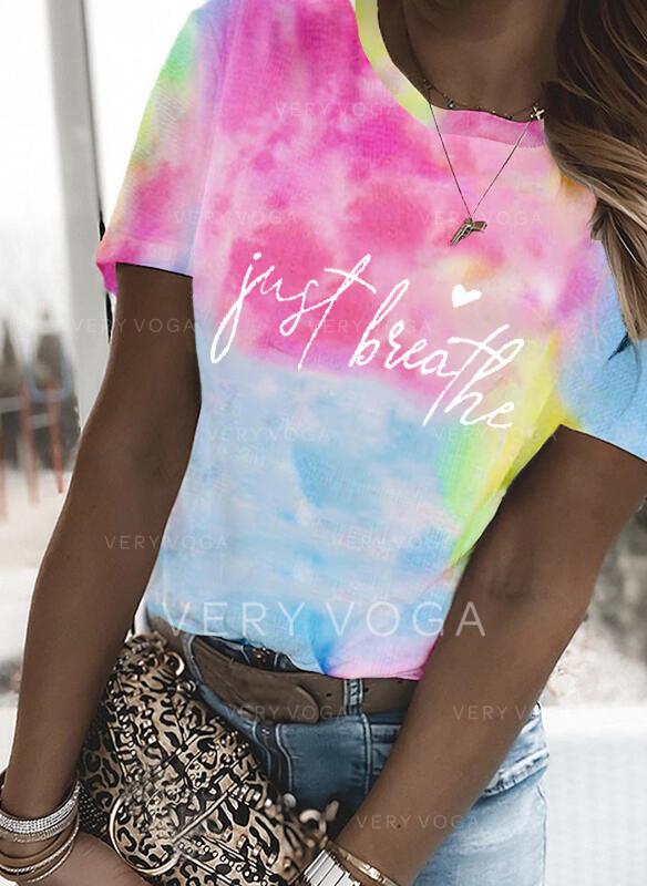 Cœur Imprimé Tie Dye Letter Col Rond Manches Courtes T-shirts