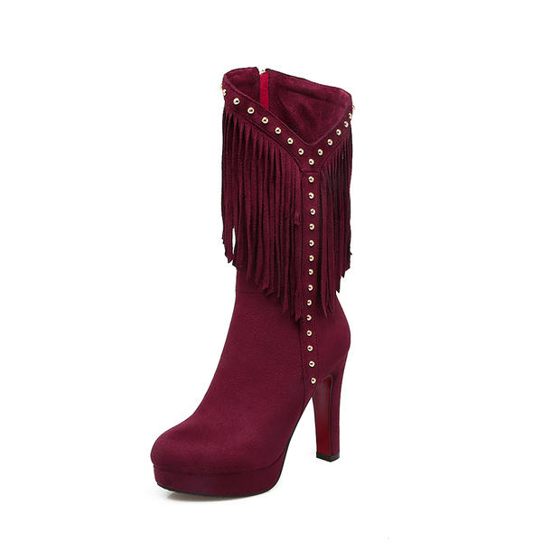 e6bc69b51b3 Women s Suede Chunky Heel Pumps Platform Boots Mid-Calf Boots With Rivet  Zipper Tassel shoes