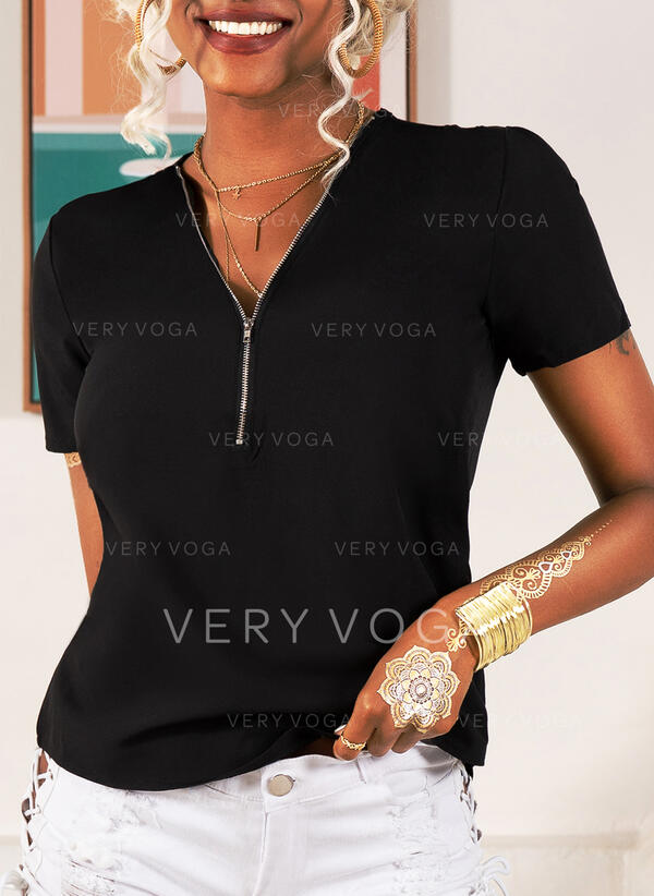 Solide V-hals Korte Mouwen Casual Breiwerk Overhemd