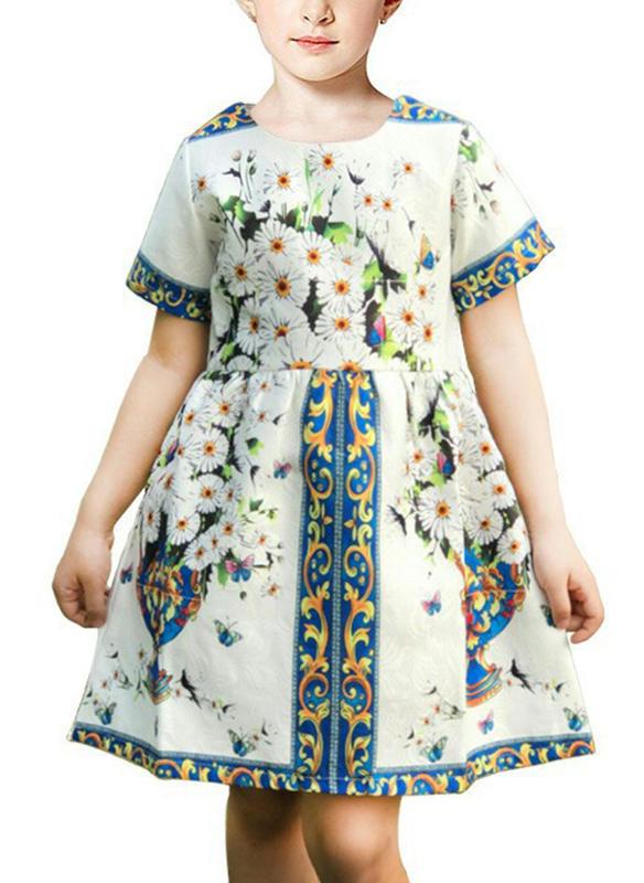 14b54a839e2 Κορίτσια Στρογγυλός λαιμός Ανθινος Τυπώνω Φερμουάρ Ανέμελος Χαριτωμένος  Φόρεμα
