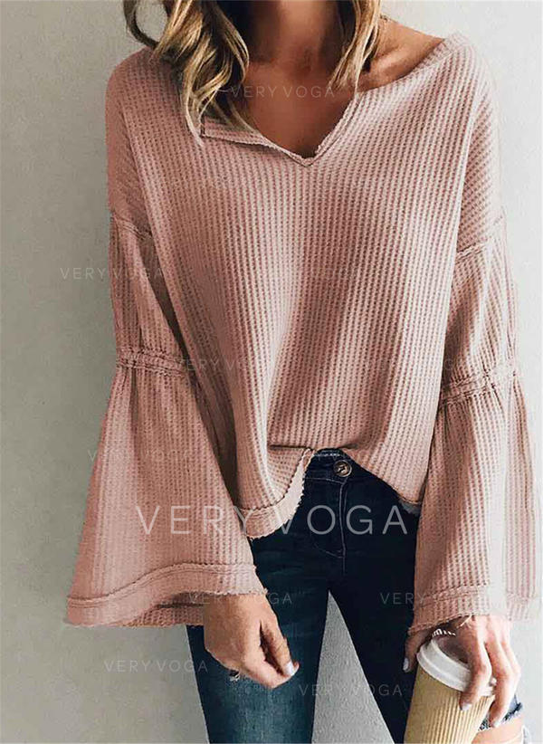 Solid V-neck Flare Sleeve Long Sleeves Casual Knit Blouses
