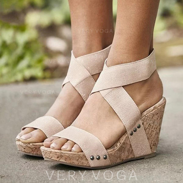 Women's PU Wedge Heel Sandals Wedges With Elastic Band shoes