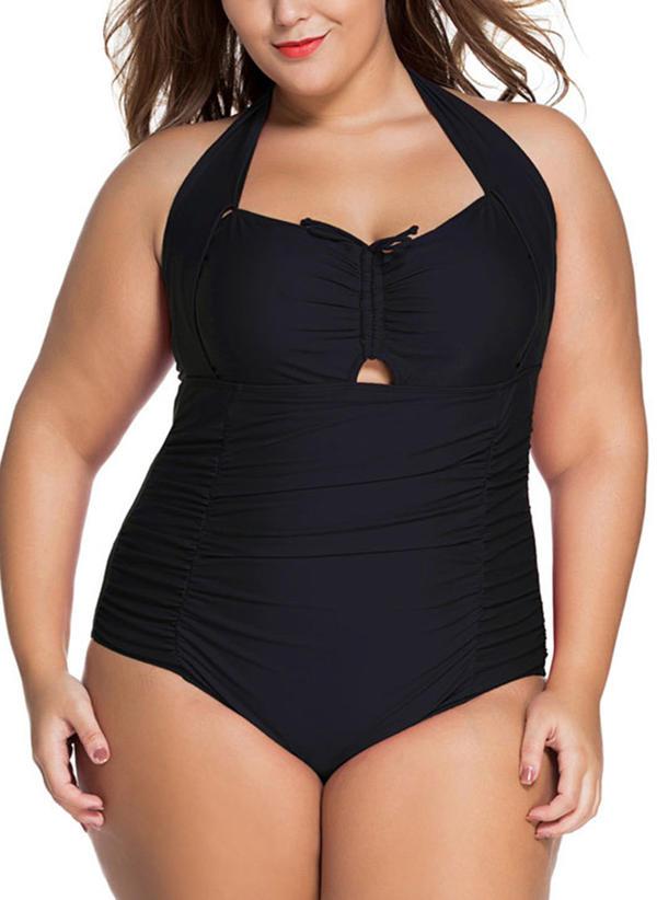 Tinta unita A bikini Elegante Taglia grossa Costumi interi Costumi Da Bagno