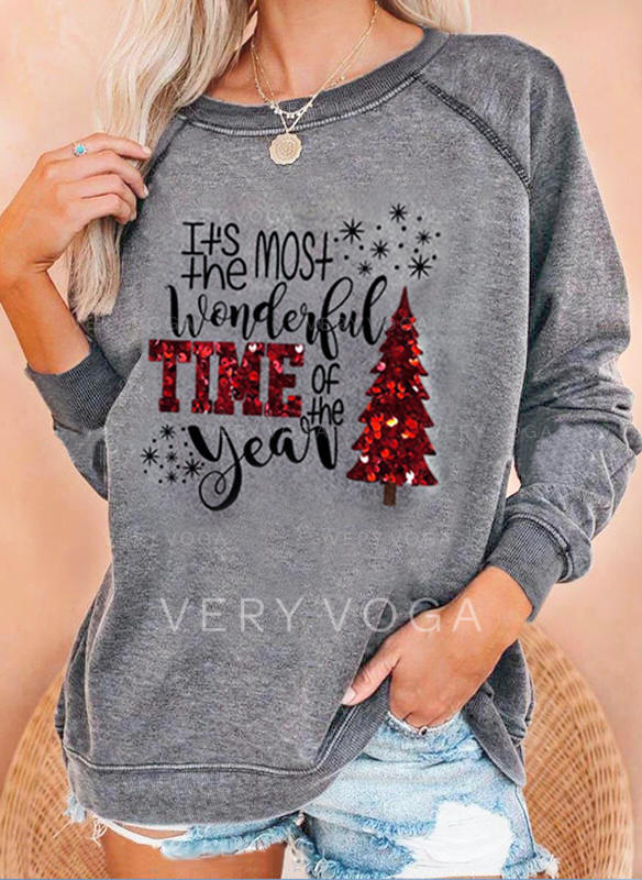 Print Sequins Figure Round Neck Long Sleeves Christmas Sweatshirt