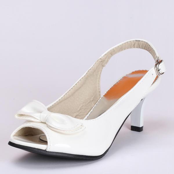 Naisten Keinonahasta Kitten heel Avokärkiset korkokengät Sandaalit jossa Bowknot Solki