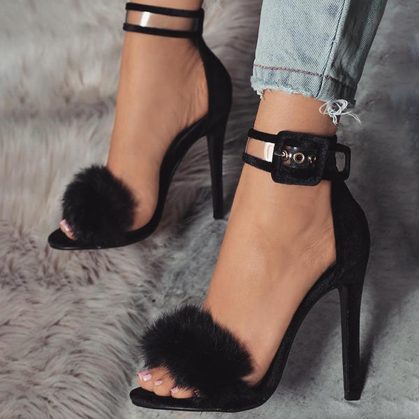 Women's Suede Stiletto Heel Sandals Pumps Peep Toe With Buckle Faux-Fur shoes
