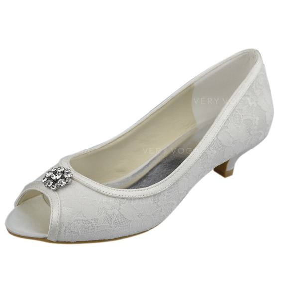 Frauen Spitze Kätzchen Absatz Peep Toe Sandalen mit Strass