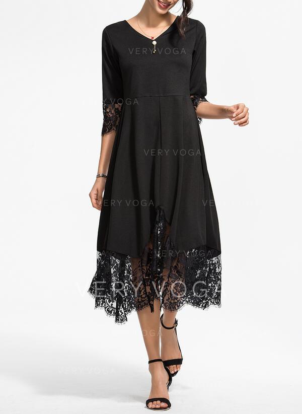 Koronka/Jednolita Rękawy 3/4 W kształcie litery A Łyżwiaż Mała czarna/Elegancki Midi Sukienki