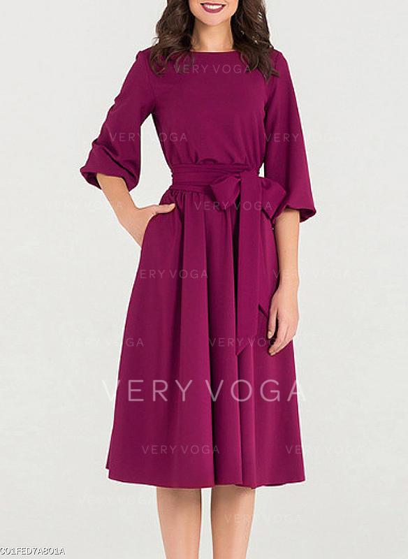 Solid 1/2 Sleeves A-line Knee Length Vintage/Elegant Dresses