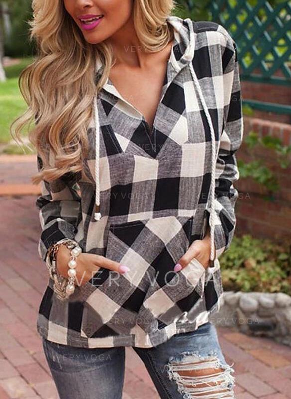 Print Hoodie Long Sleeves Casual Blouses