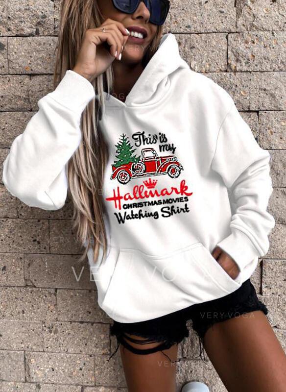 Drucken Figur Taschen Lange Ärmel Weihnachts-Sweatshirt