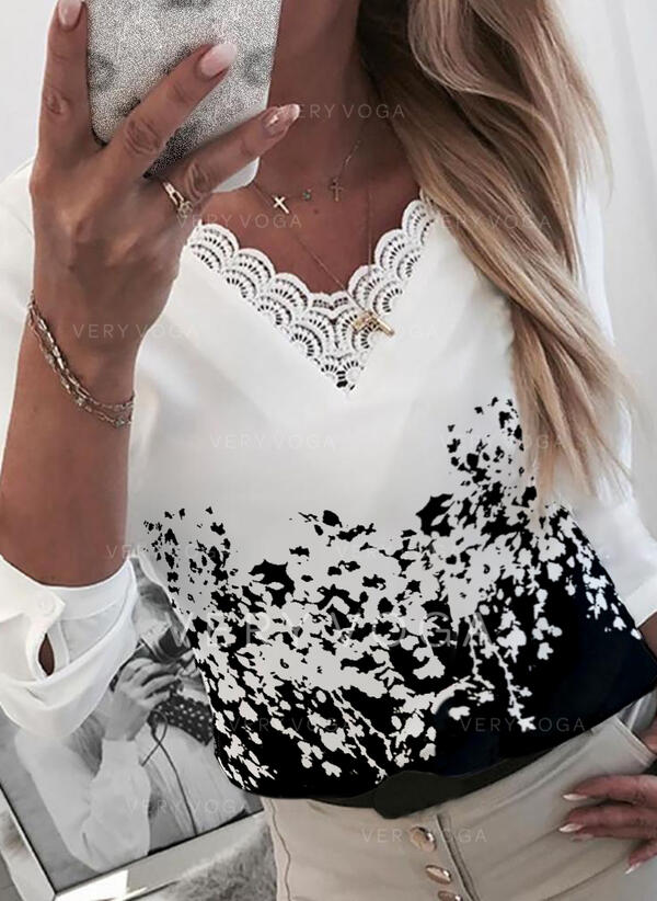 Print Lace V-Neck Long Sleeves Elegant Blouses