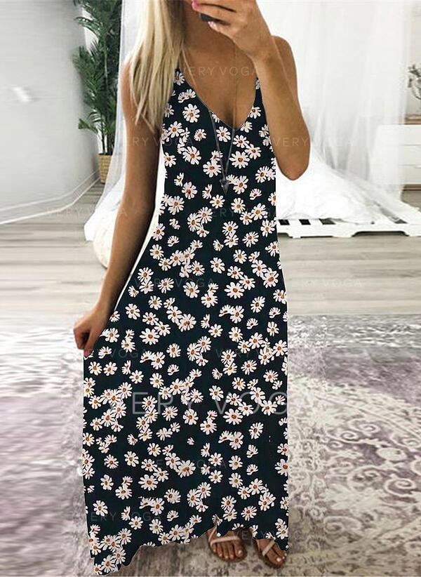 Print/Floral Sleeveless Shift Slip Casual Maxi Dresses
