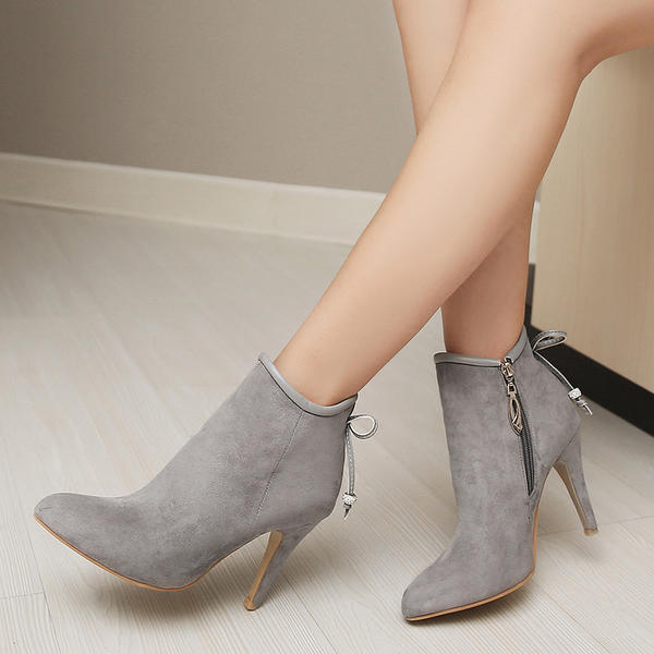Women's Suede Stiletto Heel Pumps Ankle Boots With Bowknot Zipper shoes