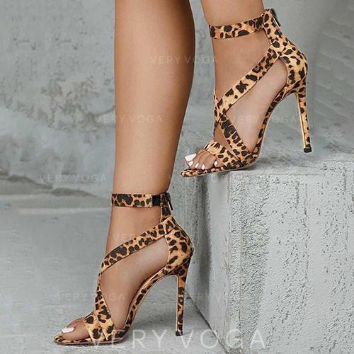 Vrouwen PU Stiletto Heel Sandalen Pumps Peep Toe met Dier Afdrukken Rits schoenen