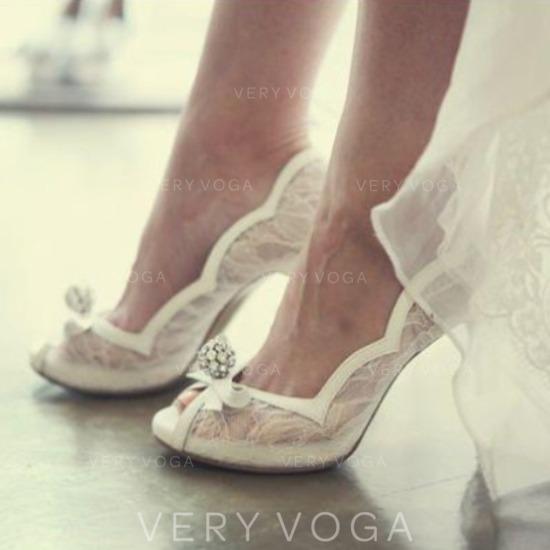 5e8517189c94 Women s Mesh Stiletto Heel Peep Toe Beach Wedding Shoes With Rhinestone  Ribbon Tie