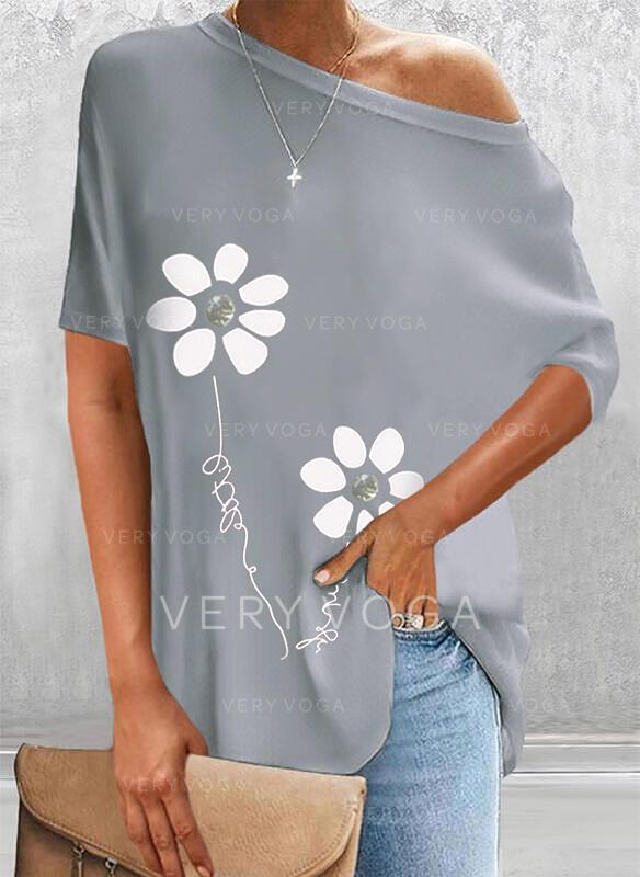 Impresión Floral Carta Cuello redondo Manga corta Casual Blusas