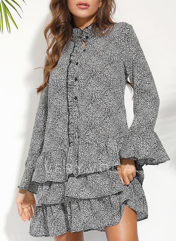 Print/Floral Long Sleeves Shift Above Knee Casual/Vacation Dresses (199287602)