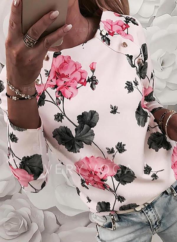 Potisk Květiny Kulatý Výstřih Dlouhé rukávy Neformální Elegant Bluze