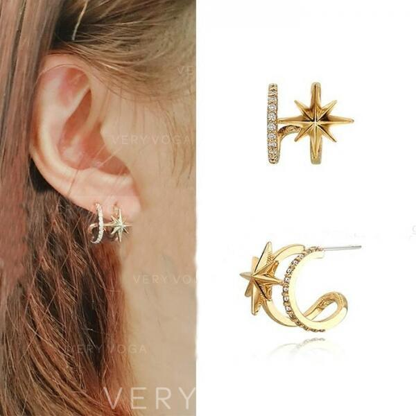 Star Shaped Alloy Rhinestones With Rhinestone Earrings