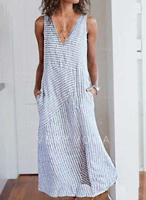 Print/Striped Sleeveless Shift Casual Maxi Dresses