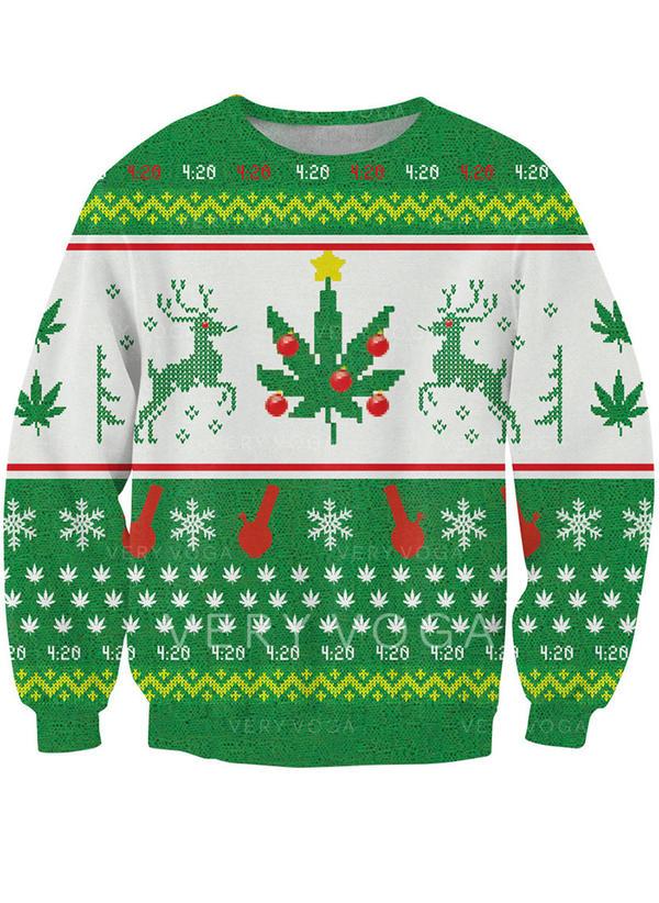 Polyester Print Christmas Sweatshirt