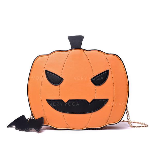 Pumpkin Lamp Shape Chain Shoulder Bag Halloween Gift 2019 Fun Halloween Pumpkin Style Women PU Leather Shoulder Bag