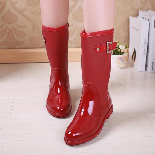 697777c6ecf59 Women's PVC Low Heel Boots Knee High Boots Rain Boots With Rivet Buckle  shoes