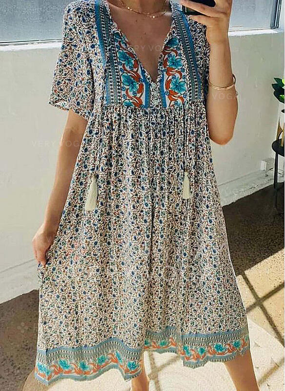 Print/Floral Short Sleeves Shift Tunic Casual/Boho/Vacation Midi Dresses