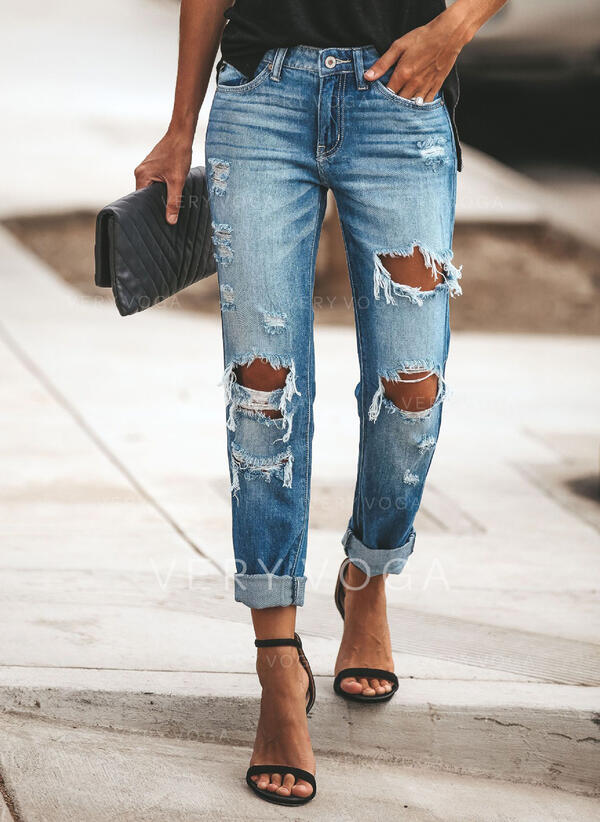 Shirred Rasgada Grandes Casual Jean Avião Jeans