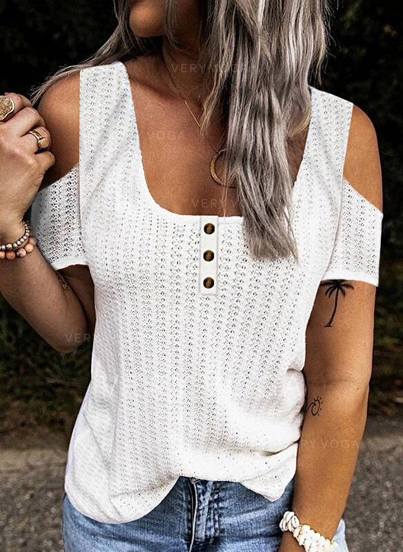 Solid Cold Shoulder Short Sleeves Button Up Casual Knit Blouses