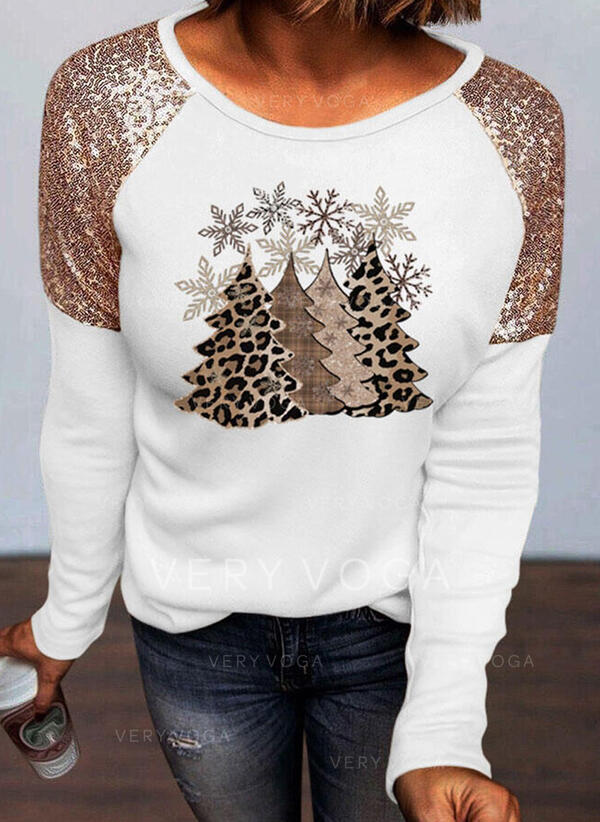 Leopard Print Sequins Round Neck Long Sleeves T-shirts