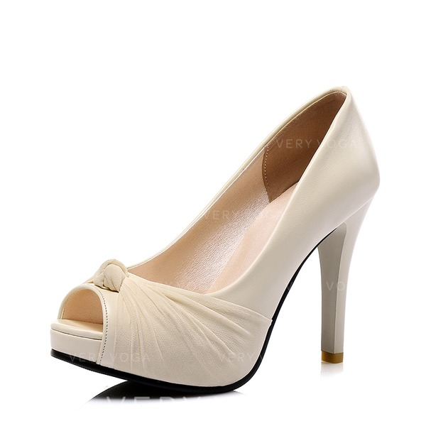 Women's Leatherette Cone Heel Pumps With Bowknot shoes