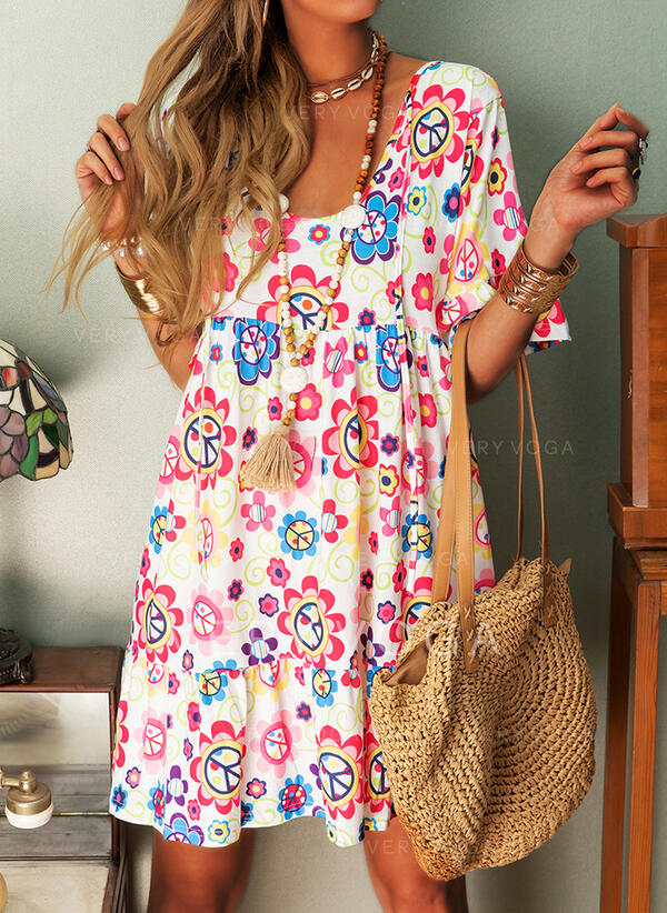 Print/Floral 1/2 Sleeves Shift Knee Length Casual/Boho/Vacation Tunic Dresses