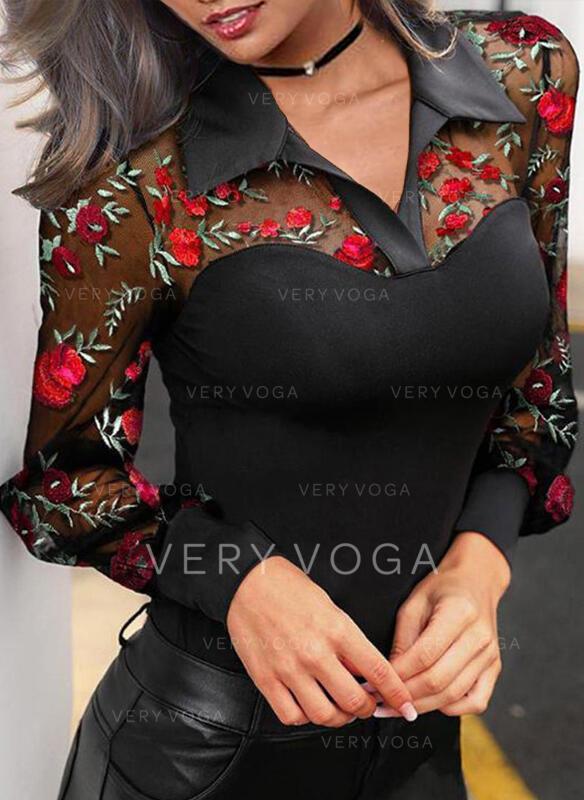 Haftowana Kwiatowy Klapa Rękaw latarnia Długie rękawy Elegancki Bluski koszulowe