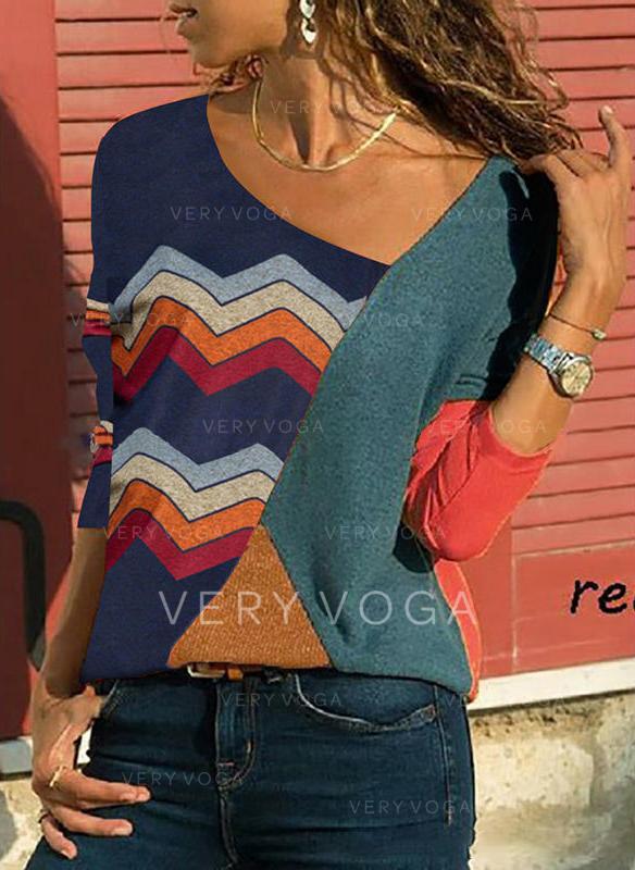 Fargeblokk Stripet V-hals Lange ermer Casual Strikking T-skjorter