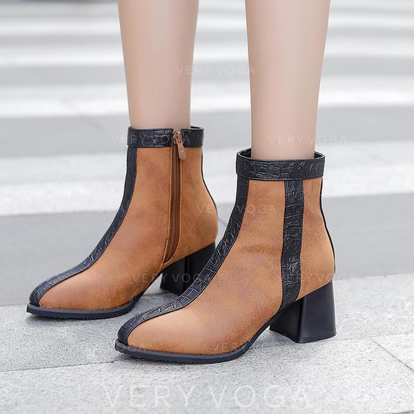 De mujer Cuero Tacón ancho Salón Botas Botas al tobillo zapatos