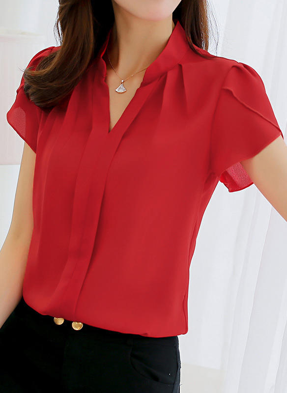 Polyester V Neck Plain Short Sleeves Casual Blouses
