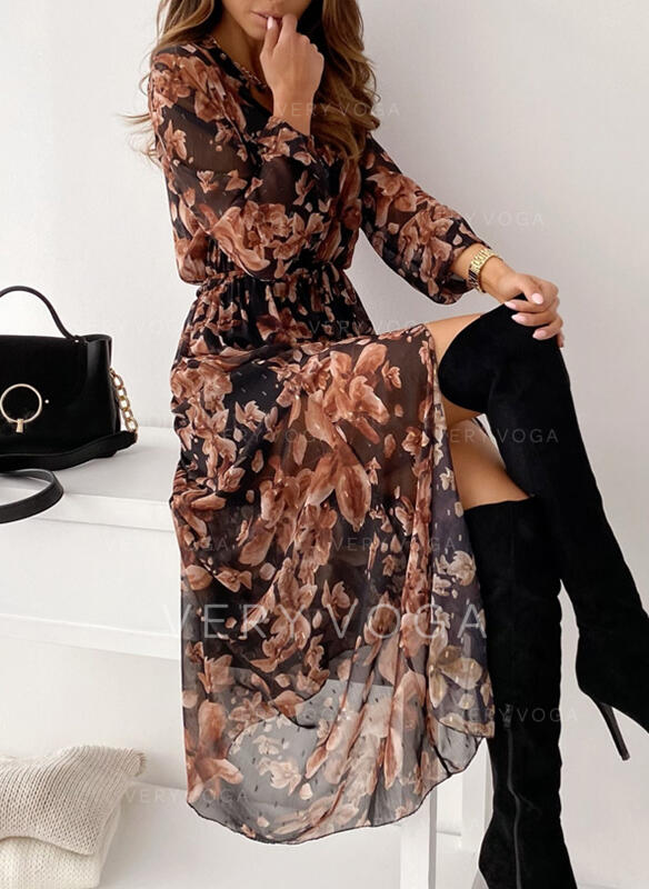 Print/Floral Long Sleeves A-line Skater Casual Maxi Dresses