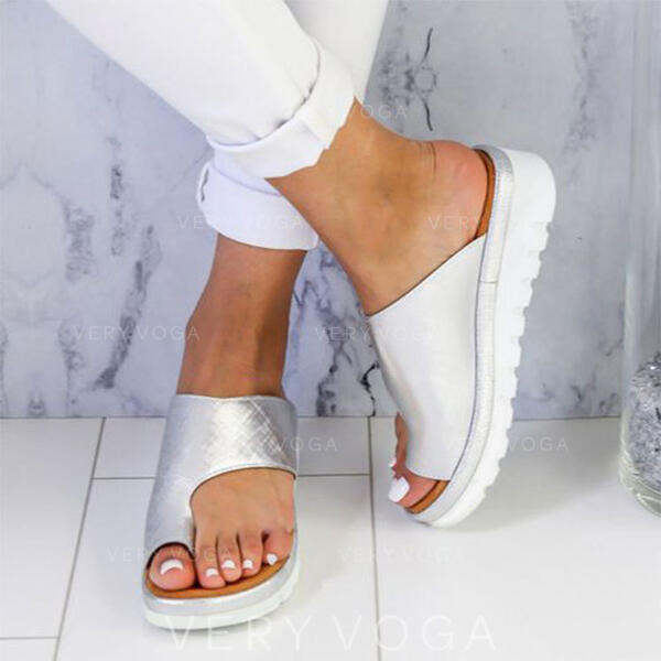 Femmes PU Talon plat Chaussures plates Chaussons Anneau d'orteil avec Autres chaussures