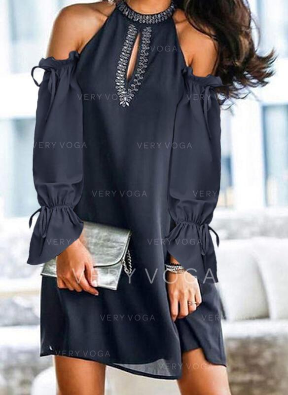 Einfarbig Lange Ärmel/Kalte Schulter Ärmel Shift Über dem Knie Freizeit Tunika Kleider