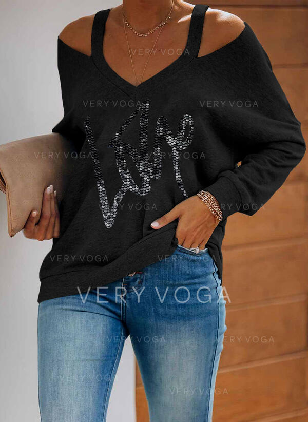 Sequins Figure Cold Shoulder Long Sleeves Casual Blouses