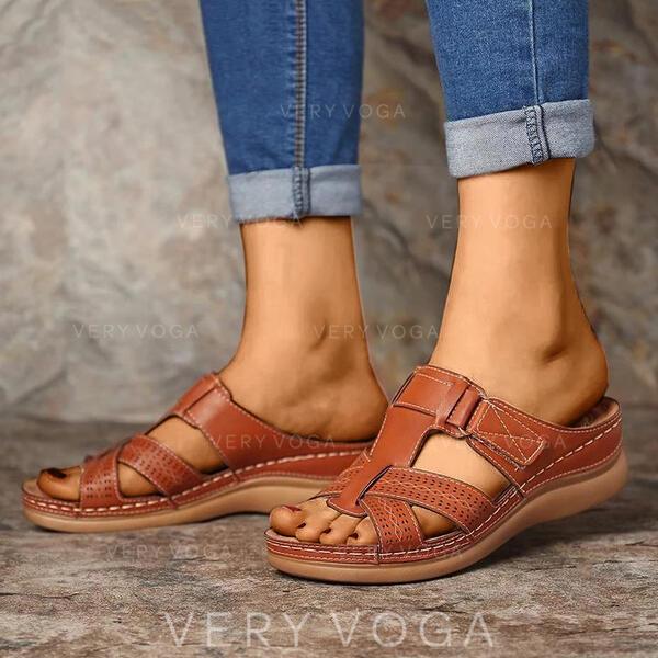 Bayanlar PU Düşük Topuk Sandalet Terlik Ile Oymak ayakkabı