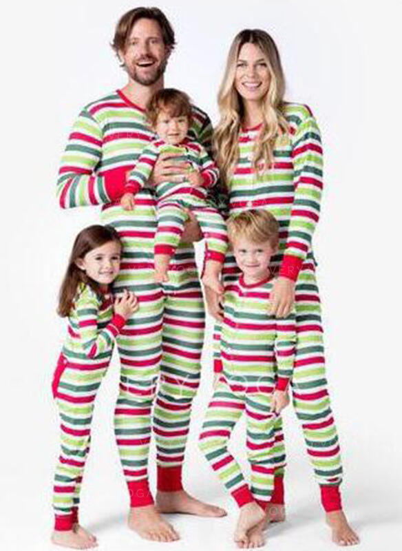 Striped Print Family Matching Christmas Pajamas