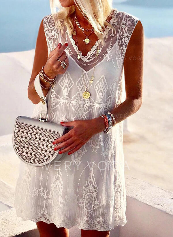 Lace/Solid Sleeveless Shift Knee Length Casual/Vacation Tank Dresses